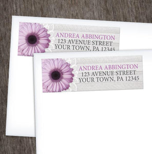Rustic Purple Daisy Gray Wood Return Address Labels