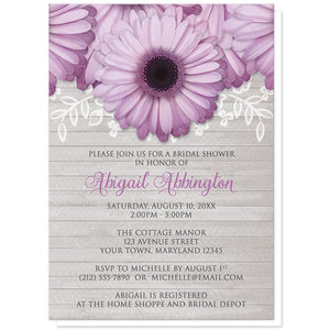 Rustic Purple Daisy Gray Wood Bridal Shower Invitations at Artistically Invited