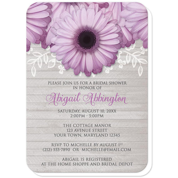 Rustic Purple Daisy Gray Wood Bridal Shower Invitations (rounded corners) at Artistically Invited
