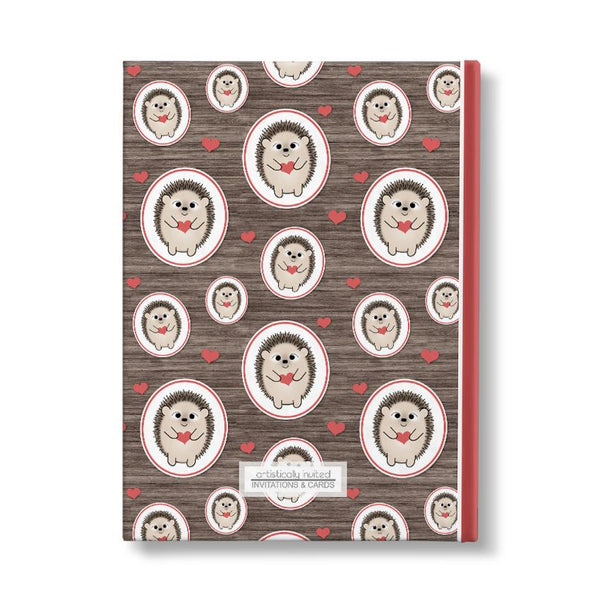 "Rustic Red Heart Hedgehog Pattern Personalized 5"" x 7"" Journal - back"
