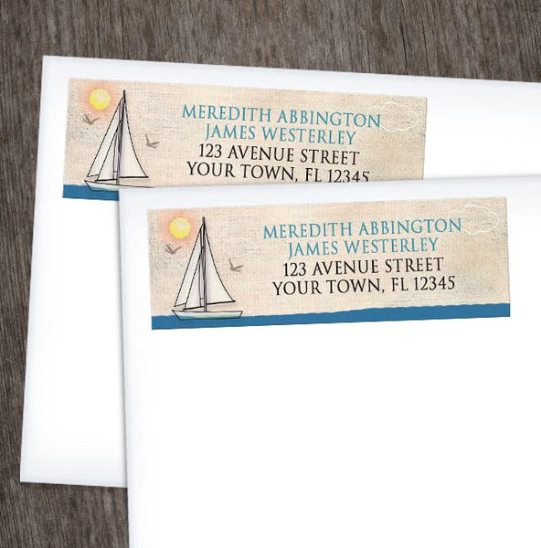 Rustic Sailboat Nautical Address Labels at Artistically Invited