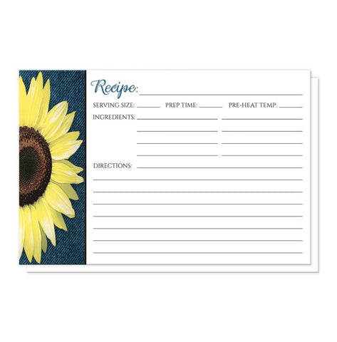 Rustic Sunflower and Denim Recipe Cards