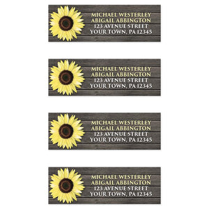 Sunflower Address Labels - Rustic Sunflower on Wood Address Labels at Artistically Invited