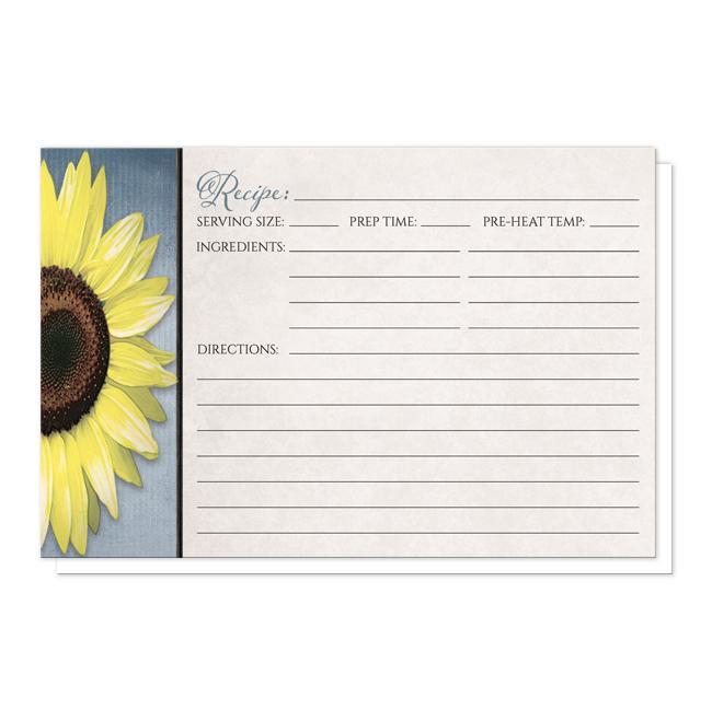 Sunflower and Blue Rustic Recipe Cards