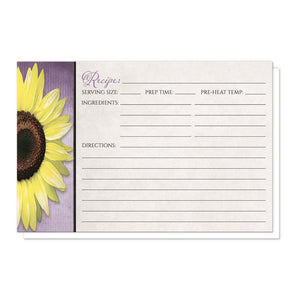 Sunflower Purple Mason Jar Rustic Recipe Cards