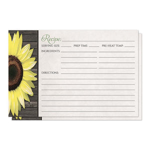 Rustic Sunflower and Wood - Sunflower Recipe Cards at Artistically Invited