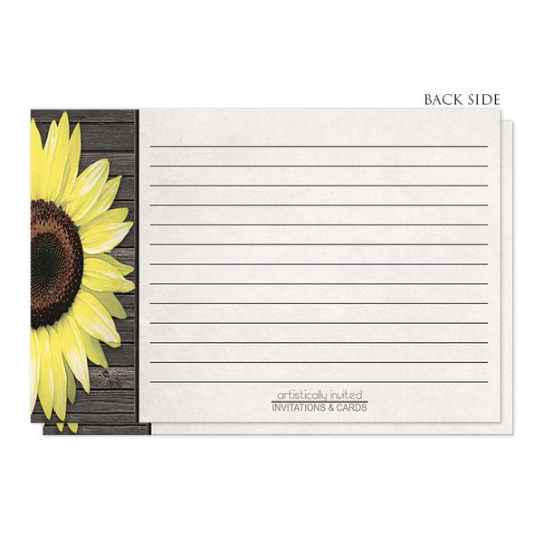 Rustic Sunflower and Wood - Sunflower Recipe Cards (back side) at Artistically Invited