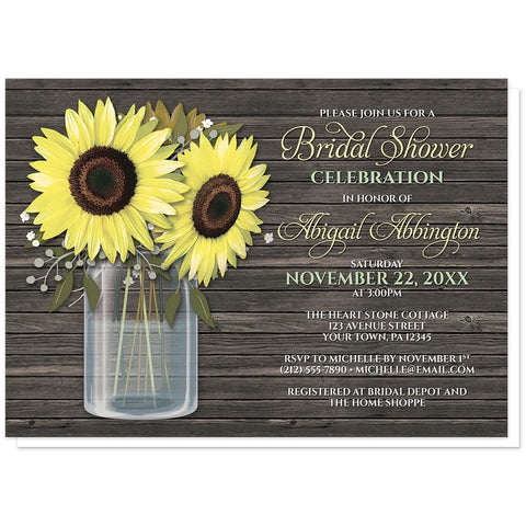 Rustic Sunflower Wood Mason Jar Bridal Shower Invitations at Artistically Invited