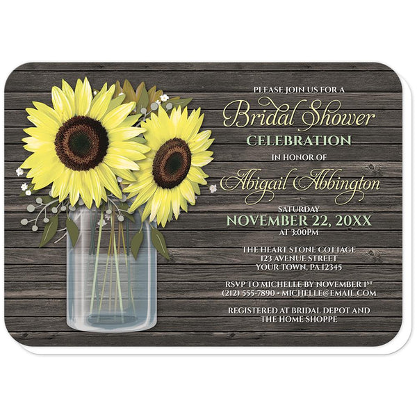 Rustic Sunflower Wood Mason Jar Bridal Shower Invitations (rounded corners) at Artistically Invited
