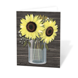 Rustic Sunflower Wood Mason Jar Note Cards at Artistically Invited