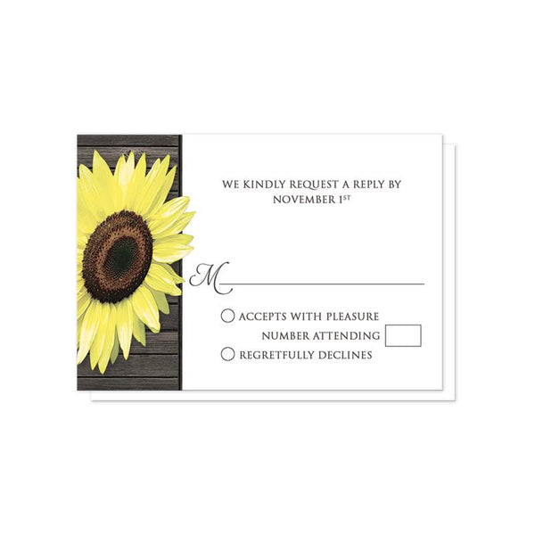 Rustic Sunflower Wood Mason Jar Wedding RSVP cards at Artistically Invited