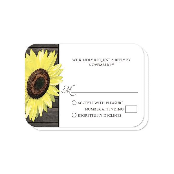 Rustic Sunflower Wood Mason Jar Wedding RSVP cards (rounded corners) at Artistically Invited