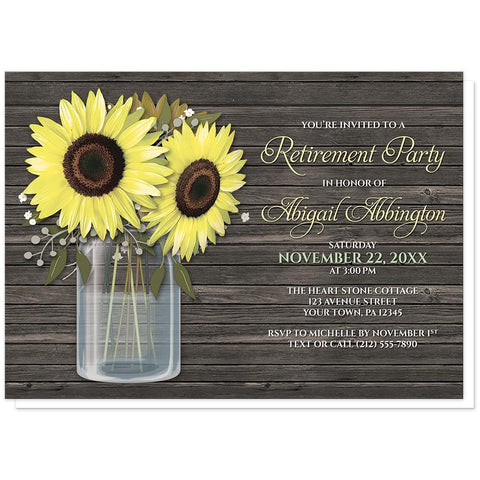 Rustic Sunflower Wood Mason Jar - Sunflower Retirement Invitations at Artistically Invited
