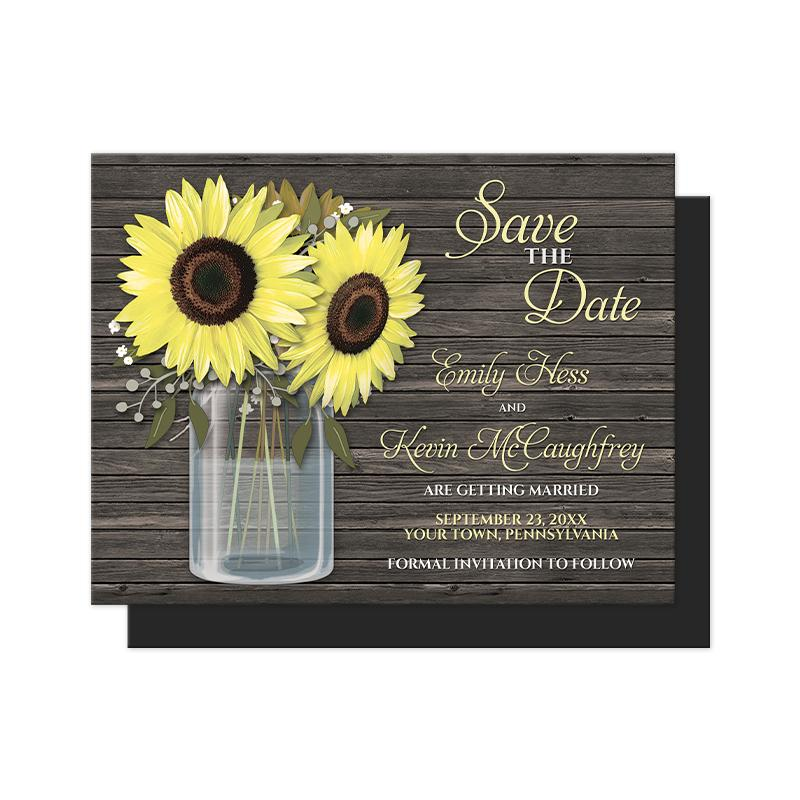 Rustic Sunflower Wood Mason Jar Save the Date Magnets at Artistically Invited