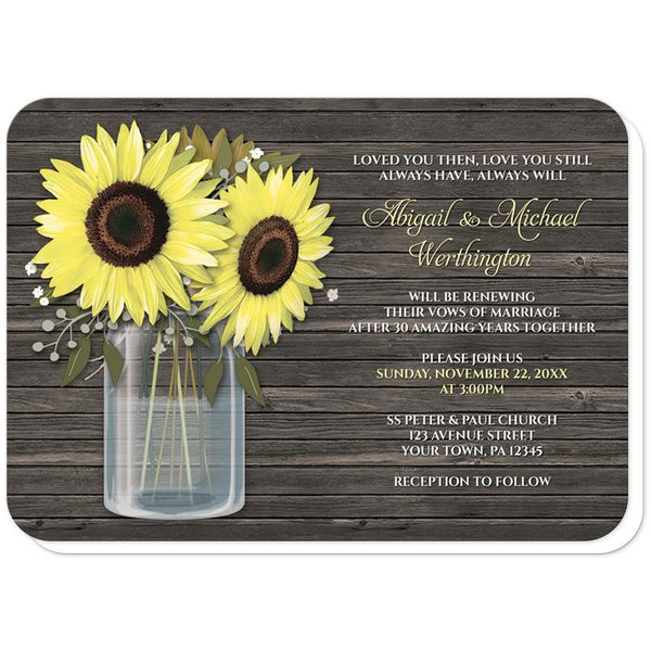 Rustic Sunflower Wood Mason Jar Vow Renewal Invitations (rounded corners) at Artistically Invited