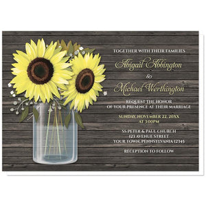 Sunflower Wedding Invitations - Rustic Sunflower Wood Mason Jar Wedding Invitations at Artistically Invited