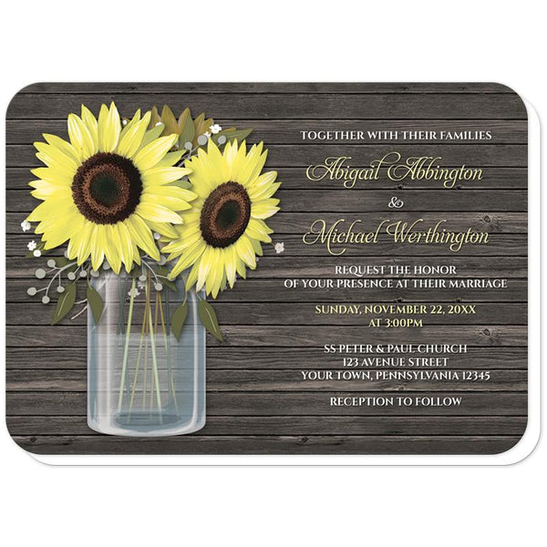 Rustic Sunflower Wood Mason Jar Wedding Invitations (rounded corners) at Artistically Invited