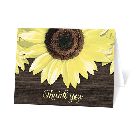 Rustic Sunflower and Wood Thank You Cards at Artistically Invited