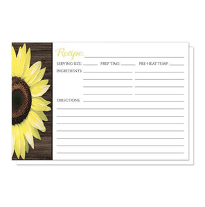 Rustic Sunflower and Wood Recipe Cards