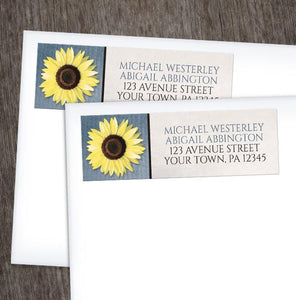 Sunflower and Blue Rustic Address Labels