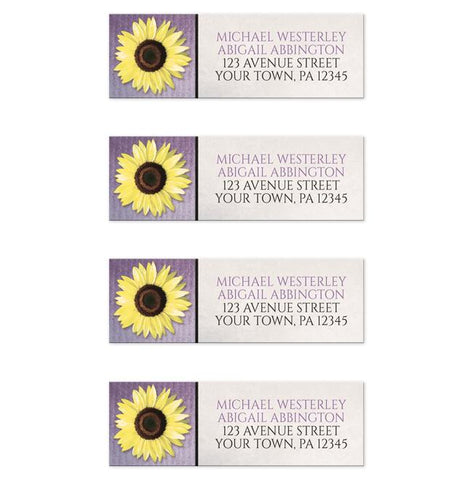 Sunflower and Purple Rustic Address Labels