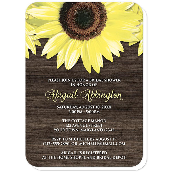 Sunflower Bridal Shower Invitations (rounded corners) - Rustic Sunflower and Wood - Sunflower Bridal Shower Invitations at Artistically Invited