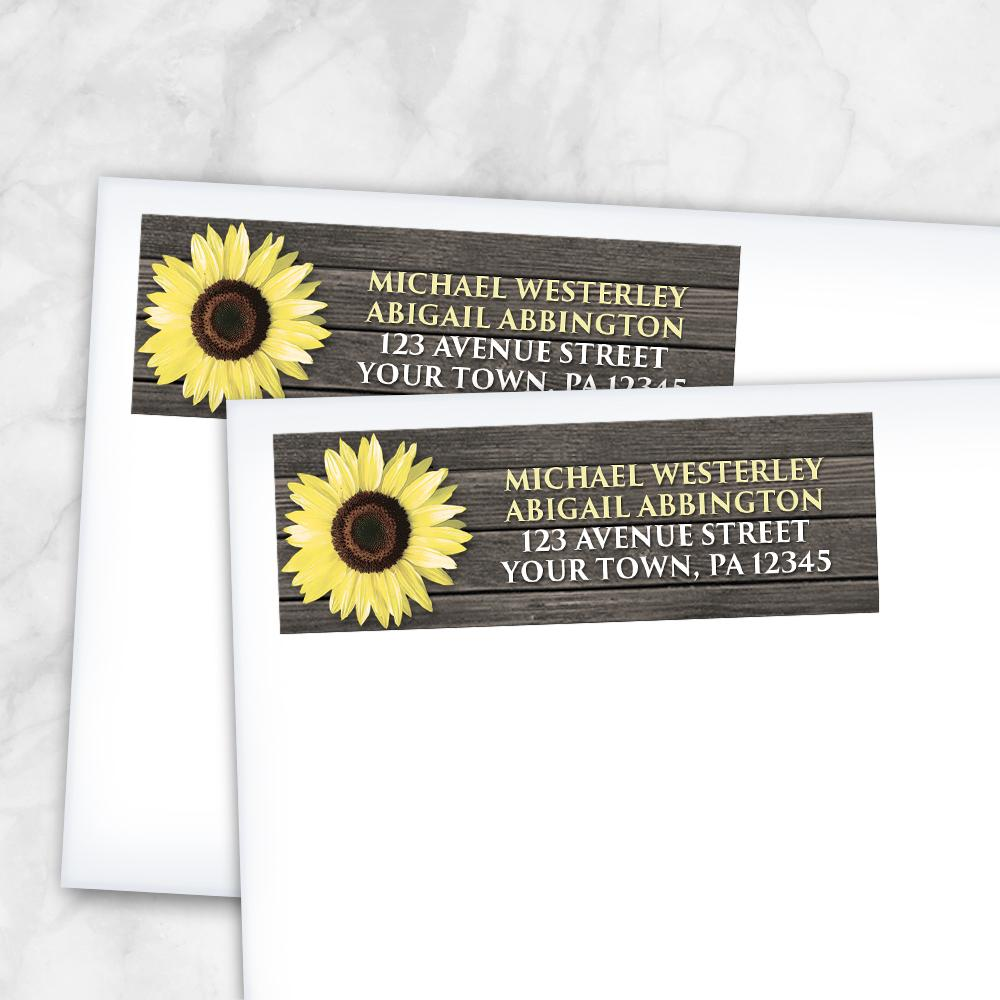 Rustic Sunflower on Wood - Sunflower Address Labels at Artistically Invited