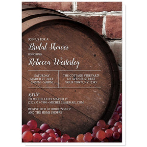 Rustic Wine Barrel Vineyard Bridal Shower Invitations at Artistically Invited