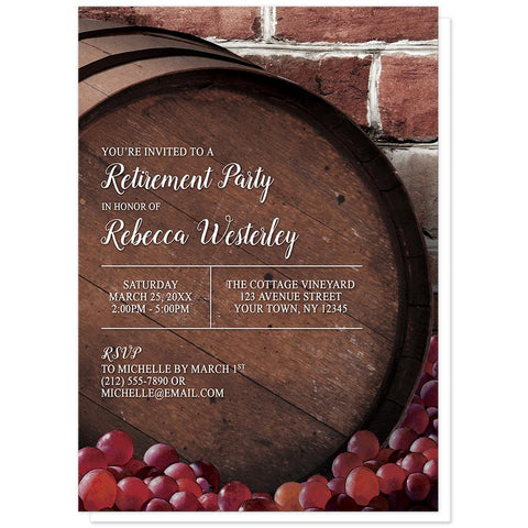Rustic Wine Barrel Vineyard Retirement Invitations at Artistically Invited