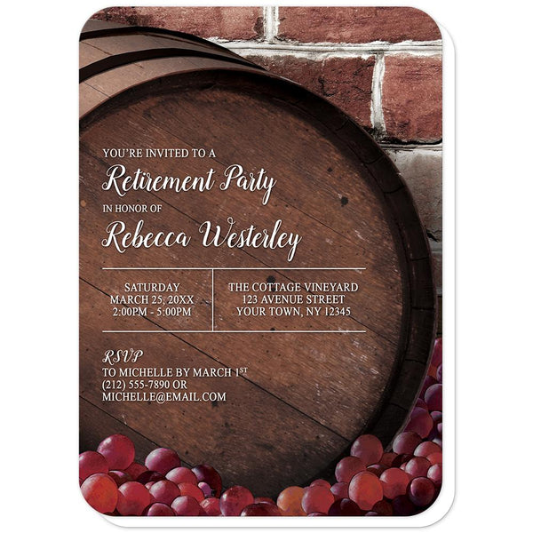 Rustic Wine Barrel Vineyard Retirement Invitations (rounded corners) at Artistically Invited