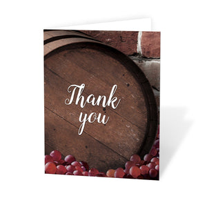 Rustic Wine Barrel Vineyard Thank You Cards at Artistically Invited