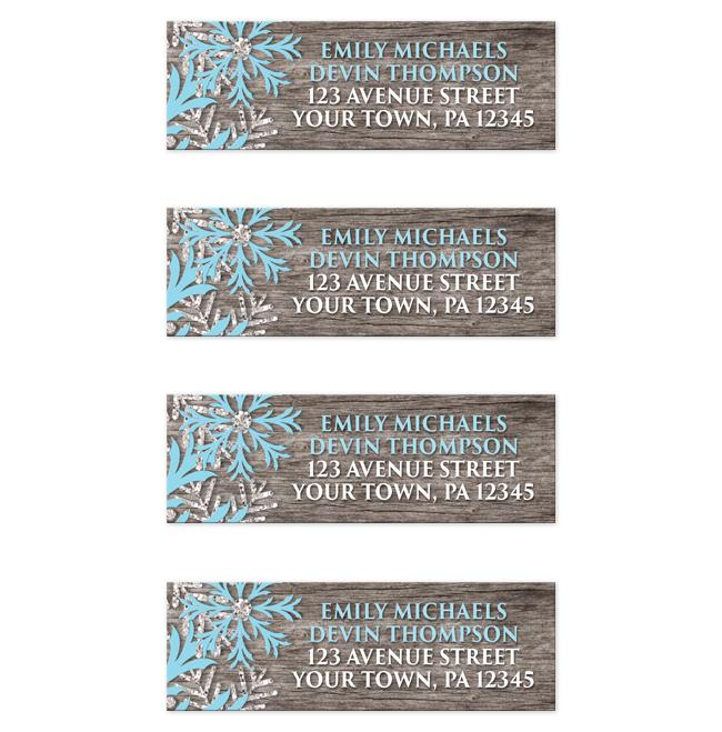 rustic winter wood blue snowflake address labels online at