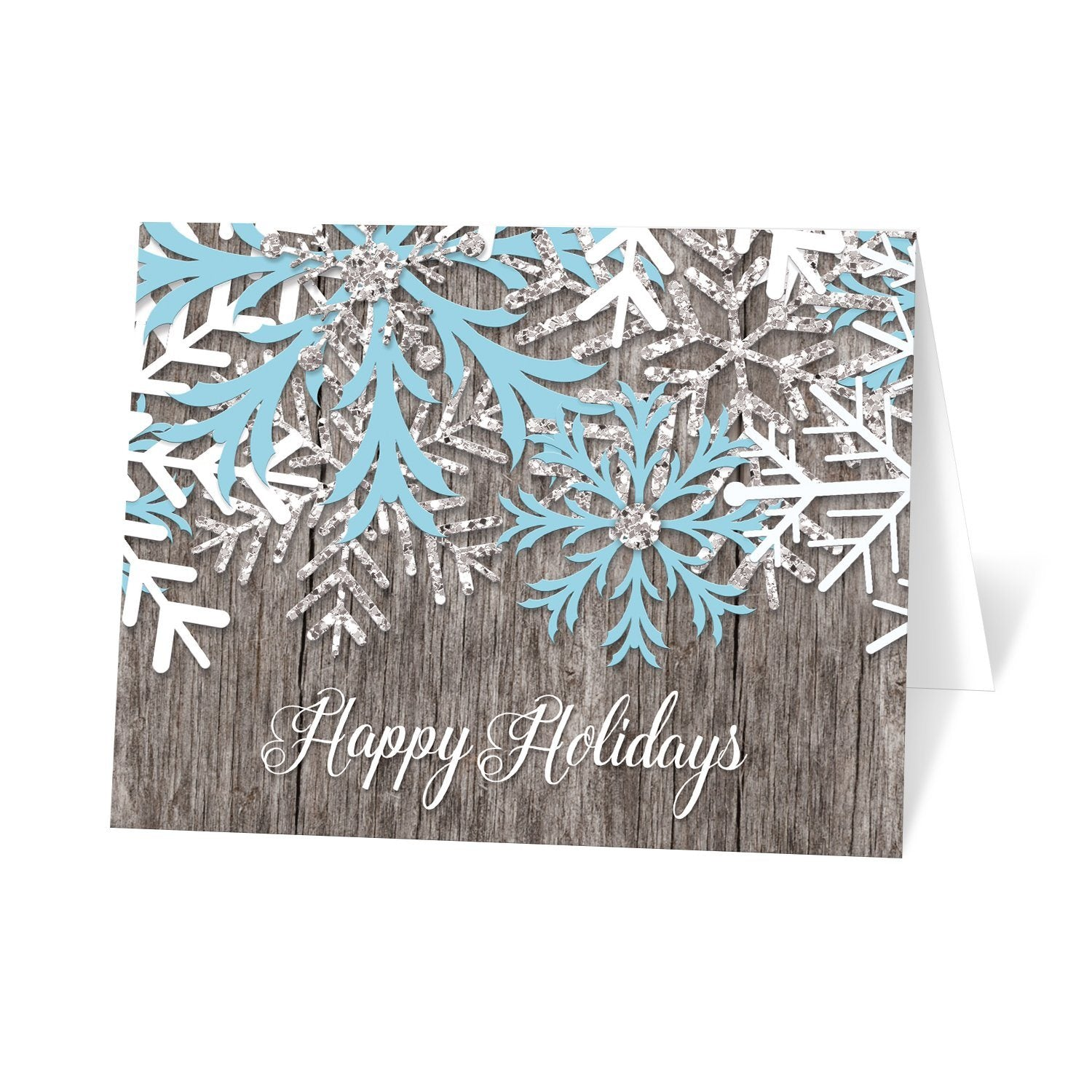Rustic Winter Wood Blue Snowflake Holiday Cards at Artistically Invited