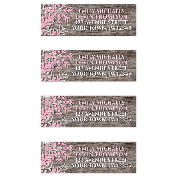 Rustic Winter Wood Pink Snowflake Address Labels at Artistically Invited