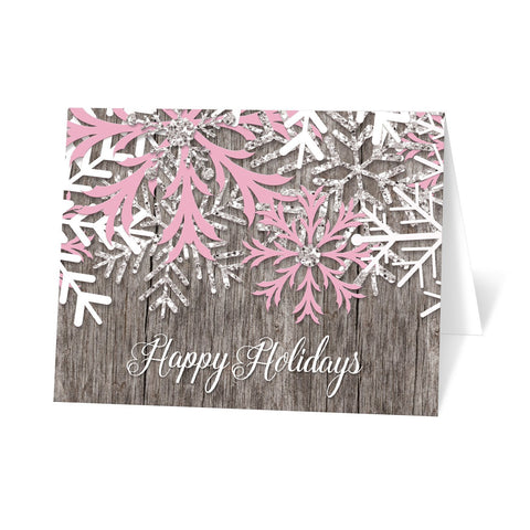 Rustic Winter Wood Pink Snowflake Holiday Cards at Artistically Invited