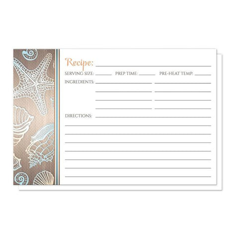 Rustic Wood Beach Seashell Recipe Cards