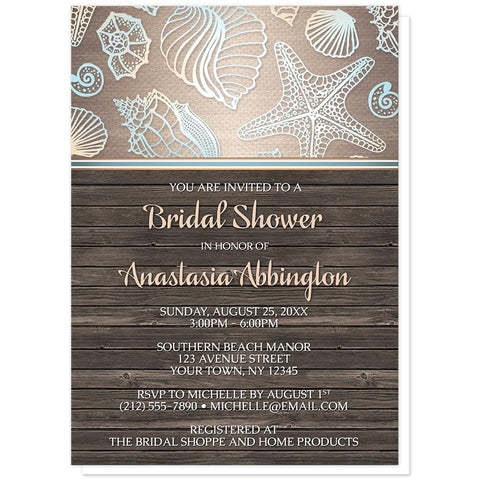 Rustic Wood Beach Seashell Bridal Shower Invitations at Artistically Invited