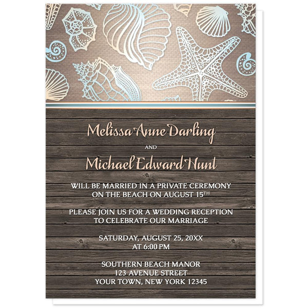 Seashell Reception Only Invitations - Rustic Wood Beach Seashell Reception Only Invitations at Artistically Invited