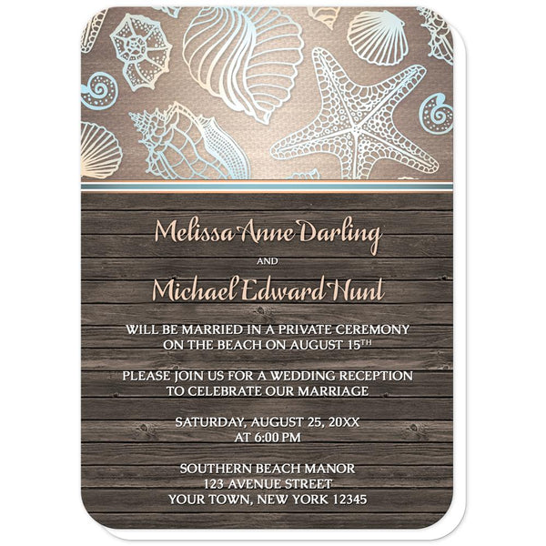 Seashell Reception Only Invitations - Rustic Wood Beach Seashell Reception Only Invitations (rounded corners) at Artistically Invited