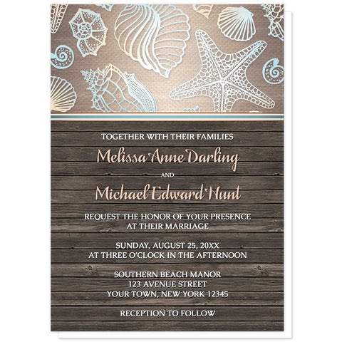 Seashell Wedding Invitations - Rustic Wood Beach Seashell Wedding Invitations at Artistically Invited