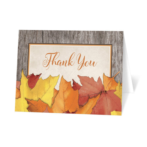 Rustic Wood and Leaves Fall Thank You Cards at Artistically Invited