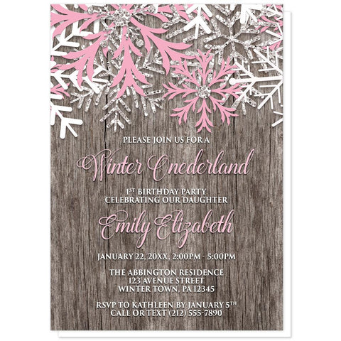 Rustic Wood Pink Snowflake Winter Onederland Invitations at Artistically Invited