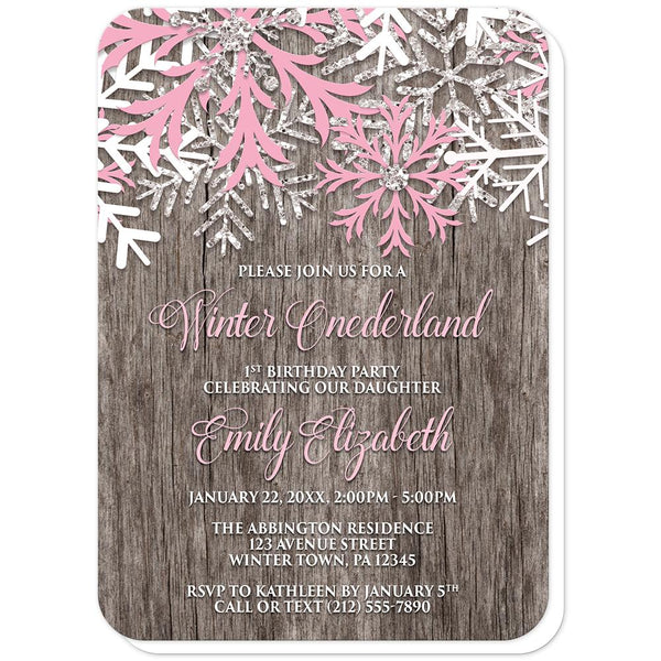Rustic Wood Pink Snowflake Winter Onederland Invitations (rounded corners) at Artistically Invited