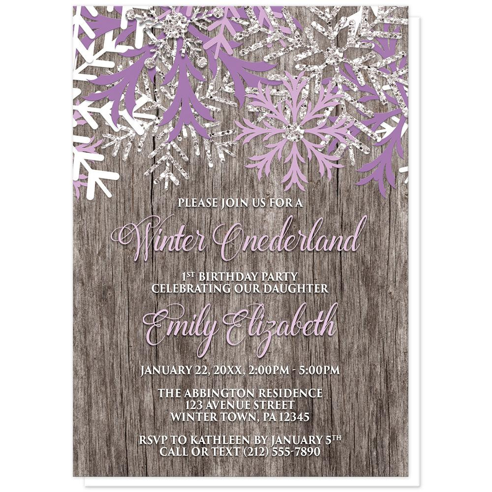Rustic Wood Purple Snowflake Winter Onederland Invitations at Artistically Invited