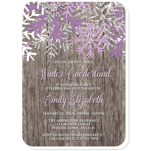 Rustic Wood Purple Snowflake Winter Onederland Invitations (rounded corners) at Artistically Invited