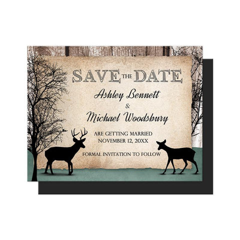 Rustic Woodsy Deer Save the Date Magnets at Artistically Invited