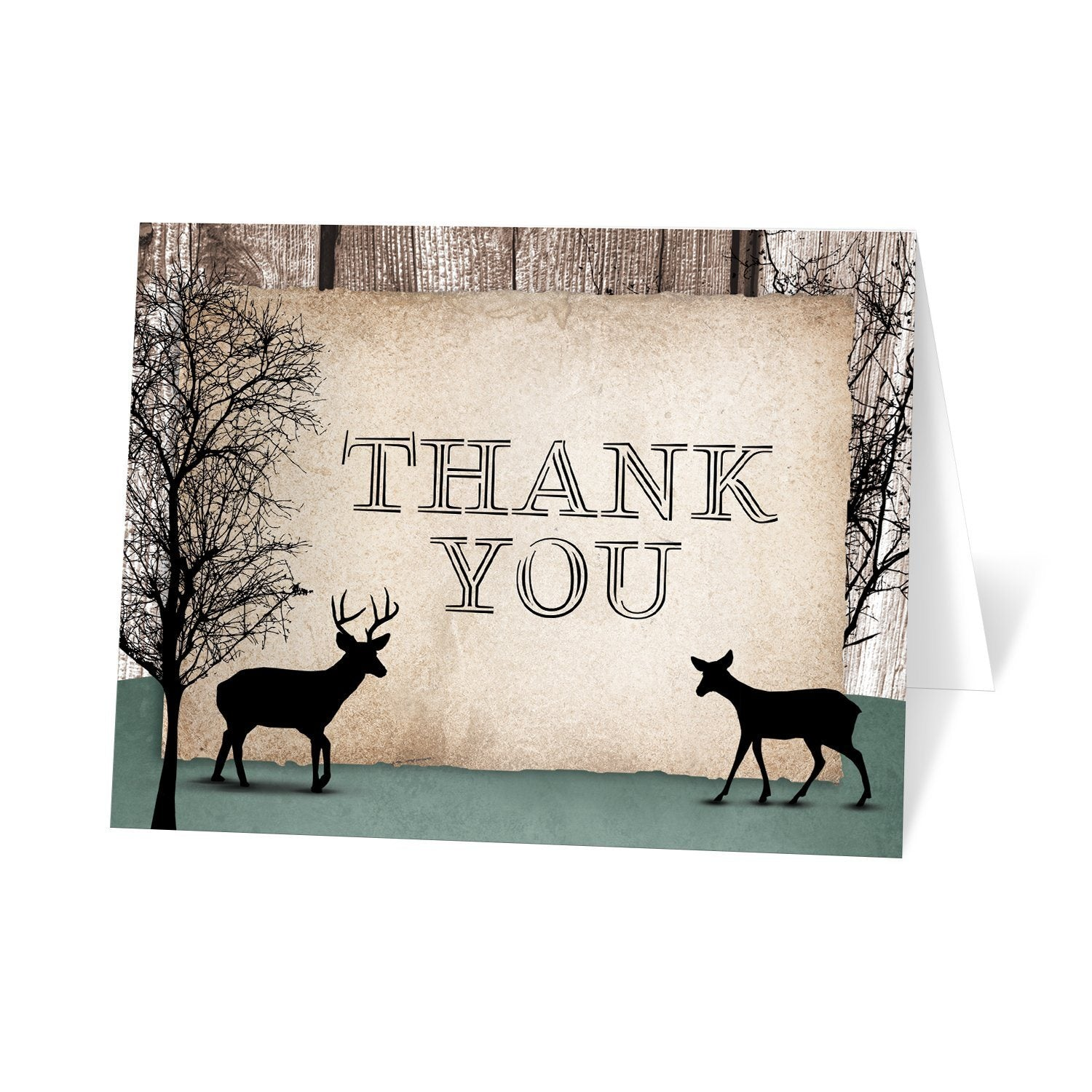 Rustic Woodsy Deer Thank You Cards at Artistically Invited
