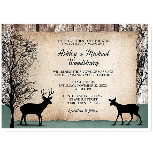Rustic Woodsy Deer Vow Renewal Invitations at Artistically Invited