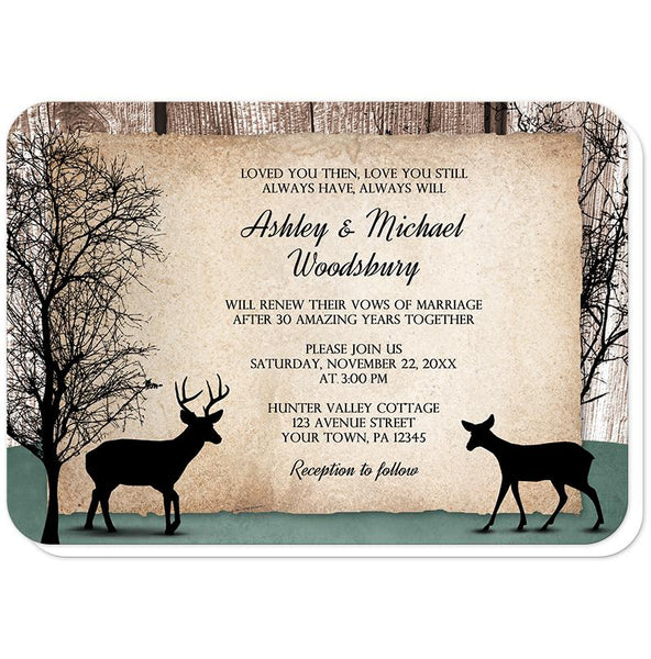 Rustic Woodsy Deer Vow Renewal Invitations (rounded corners) at Artistically Invited
