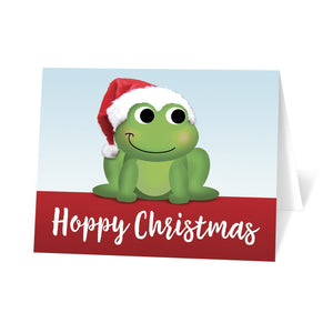 Santa Hat Frog Hoppy Christmas Cards at Artistically Invited